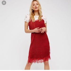 Free people Margot red slip dress/tee size 2